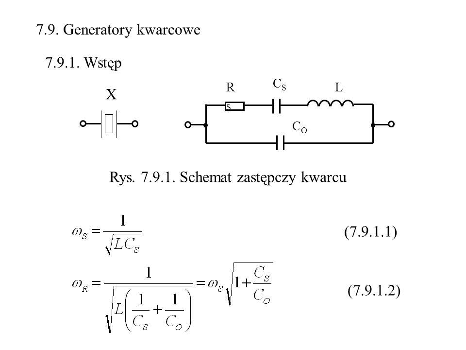7.9. Generatory kwarcowe X L CSCS RSRS COCO Rys. 7.9.1. Schemat zastępczy kwarcu 7.9.1. Wstęp (7.9.1.1) (7.9.1.2)