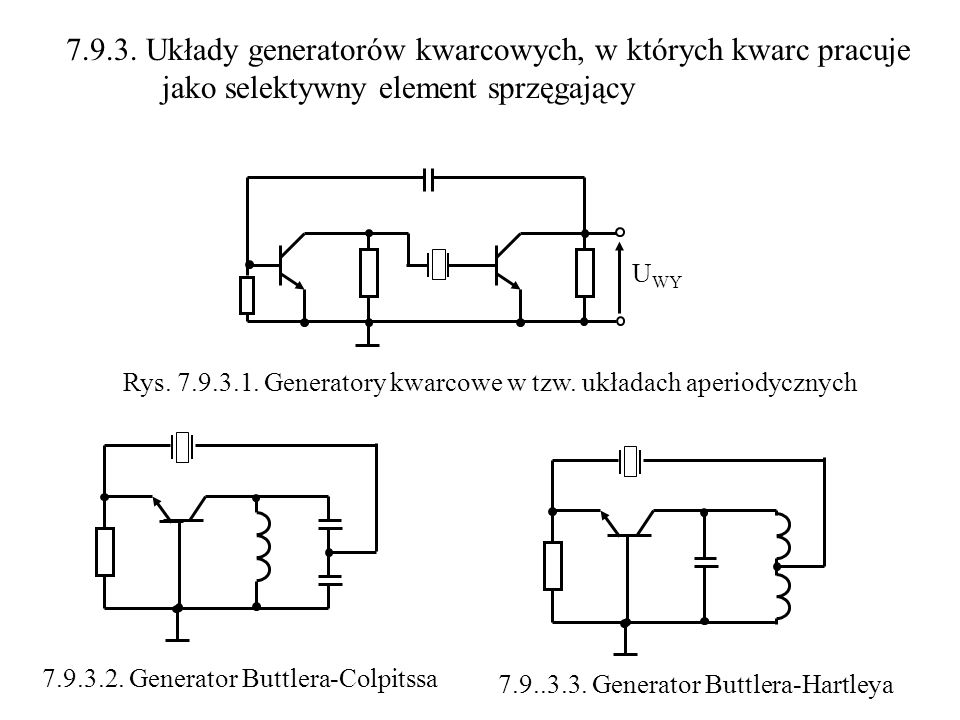 7.9.3. Układy generatorów kwarcowych, w których kwarc pracuje jako selektywny element sprzęgający U WY 7.9.3.2. Generator Buttlera-Colpitssa 7.9..3.3.