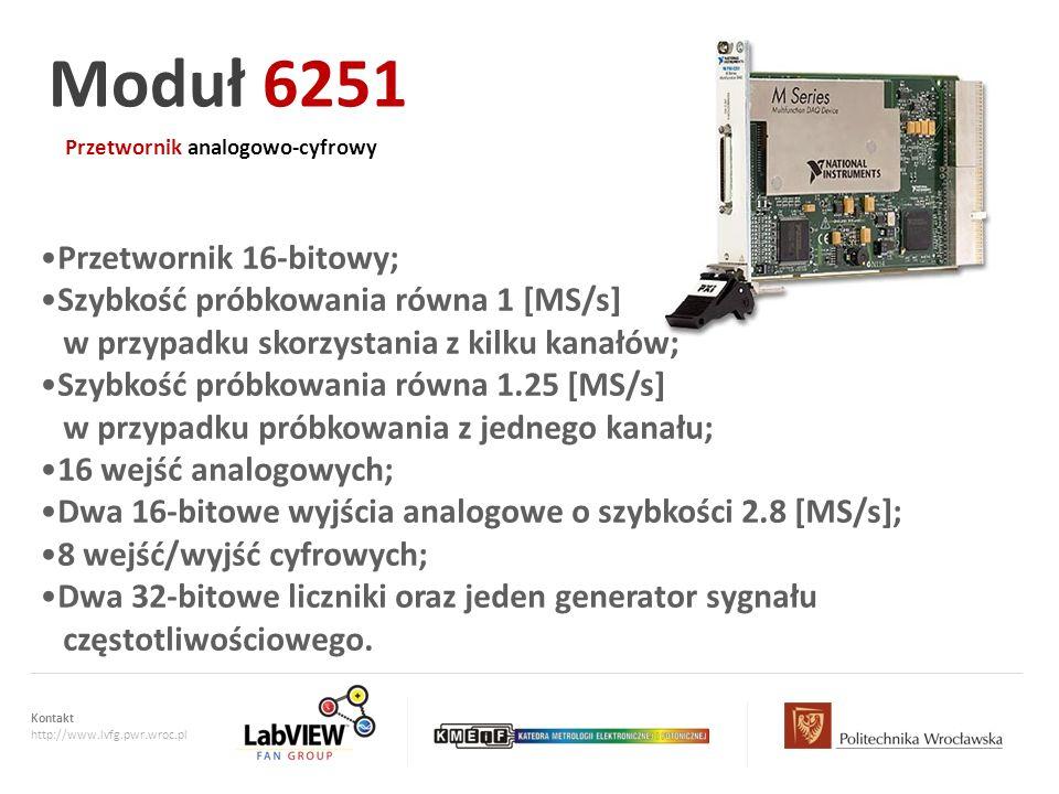 Kontakt http://www.lvfg.pwr.wroc.pl Przetwornik analogowo-cyfrowy Moduł 6251 Przetwornik 16-bitowy; Szybkość próbkowania równa 1 [MS/s] w przypadku sk