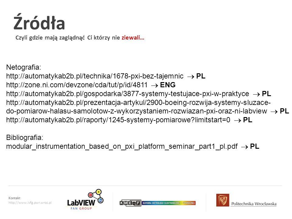 Kontakt http://www.lvfg.pwr.wroc.pl Źródła Czyli gdzie mają zaglądnąć Ci którzy nie ziewali… Netografia: http://automatykab2b.pl/technika/1678-pxi-bez