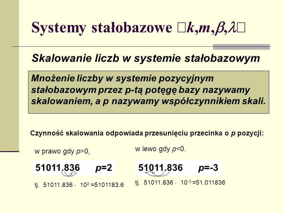 Systemy stałobazowe k,m,, Skalowanie liczb w systemie stałobazowym Mnożenie liczby w systemie pozycyjnym stałobazowym przez p-tą potęgę bazy nazywamy