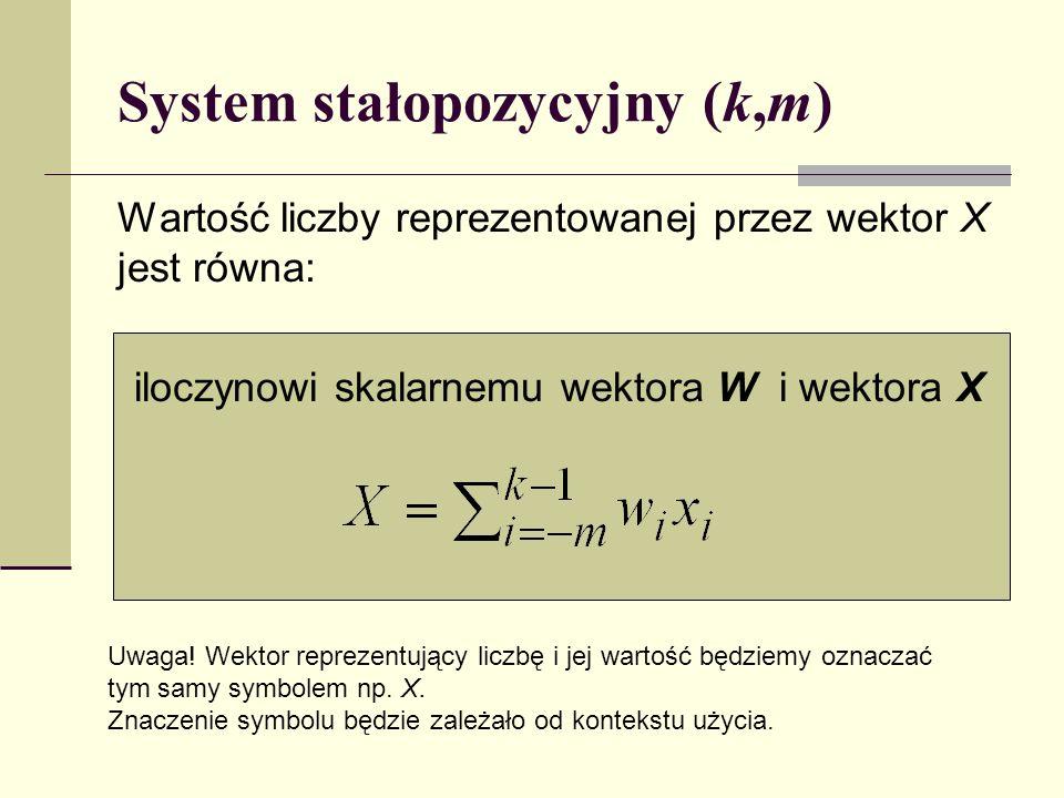 Systemy stałobazowe k,m,, System stałobazowy określony jest przez: liczbę pozycji części całkowitej k i ułamkowej m, bazę (liczba naturalna) wektor modyfikatorów znaków wag ={ k-1,..., 1, 0,..., -m }