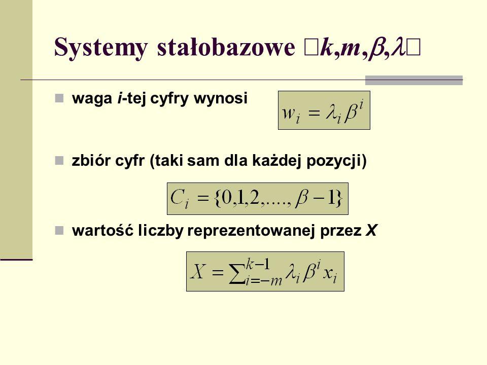 Systemy stałobazowe k,m,, waga i-tej cyfry wynosi zbiór cyfr (taki sam dla każdej pozycji) wartość liczby reprezentowanej przez X