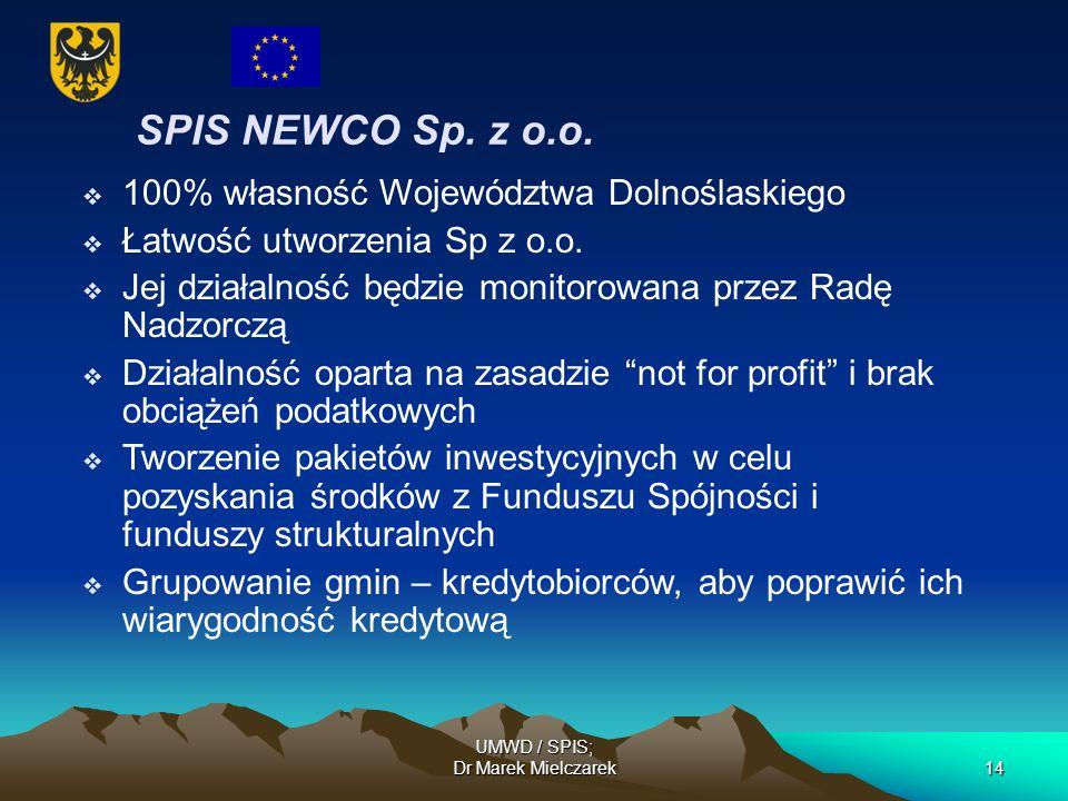 UMWD / SPIS; Dr Marek Mielczarek14 SPIS NEWCO Sp. z o.o. 100% własność Województwa Dolnoślaskiego Łatwość utworzenia Sp z o.o. Jej działalność będzie
