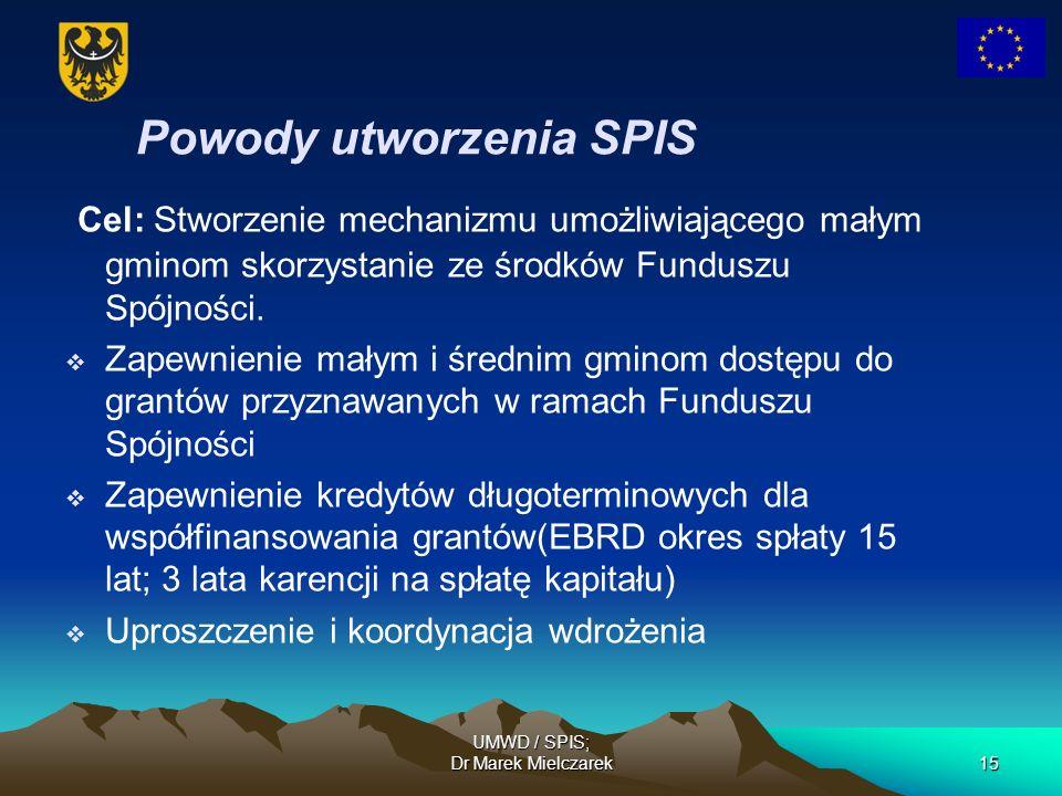 UMWD / SPIS; Dr Marek Mielczarek15 Powody utworzenia SPIS Cel: Stworzenie mechanizmu umożliwiającego małym gminom skorzystanie ze środków Funduszu Spó