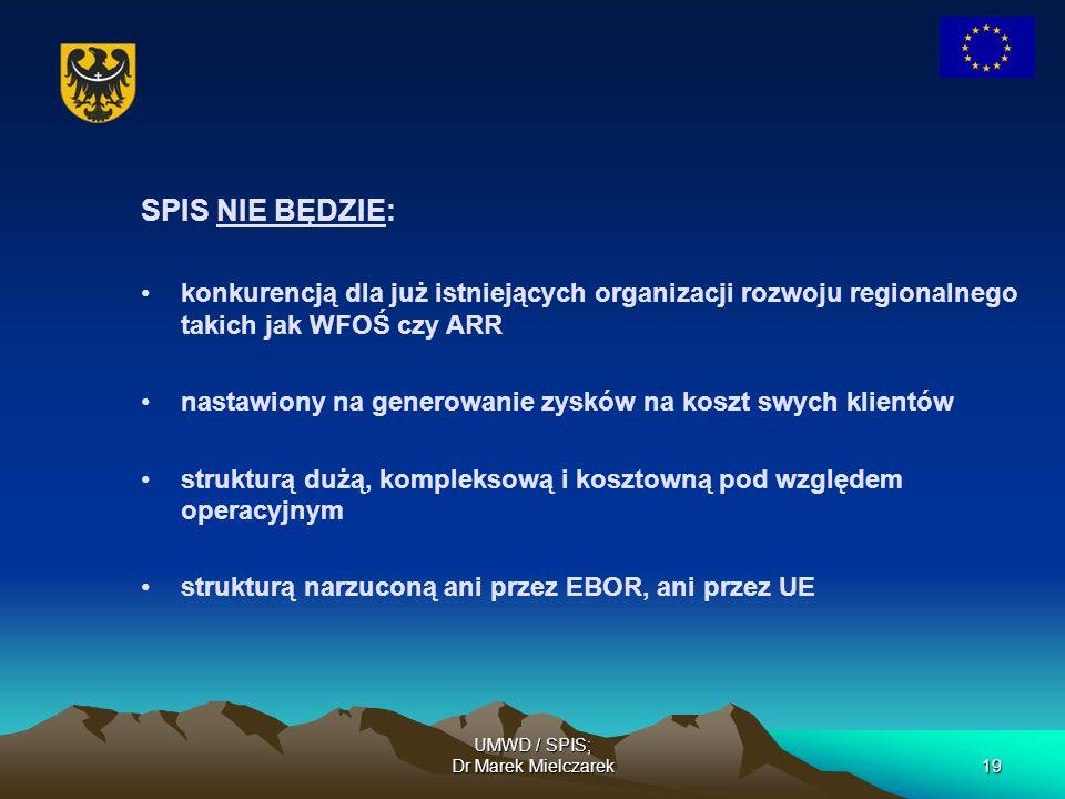 UMWD / SPIS; Dr Marek Mielczarek19 SPIS NIE BĘDZIE: konkurencją dla już istniejących organizacji rozwoju regionalnego takich jak WFOŚ czy ARR nastawio