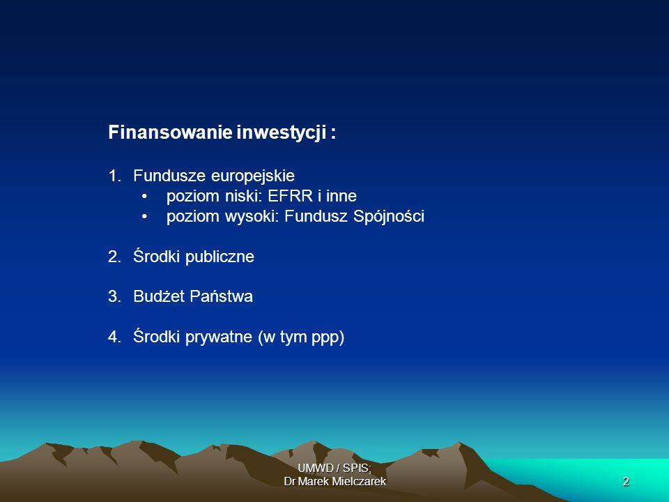 UMWD / SPIS; Dr Marek Mielczarek2 Finansowanie inwestycji : 1.Fundusze europejskie poziom niski: EFRR i inne poziom wysoki: Fundusz Spójności 2.Środki