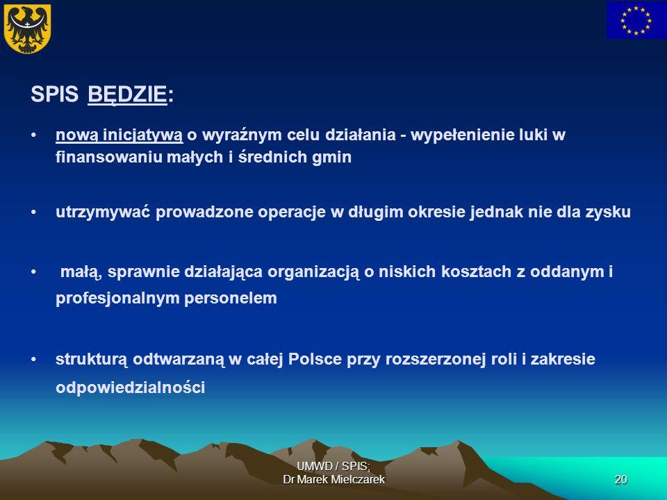 UMWD / SPIS; Dr Marek Mielczarek20 SPIS BĘDZIE: nową inicjatywą o wyraźnym celu działania - wypełenienie luki w finansowaniu małych i średnich gmin ut