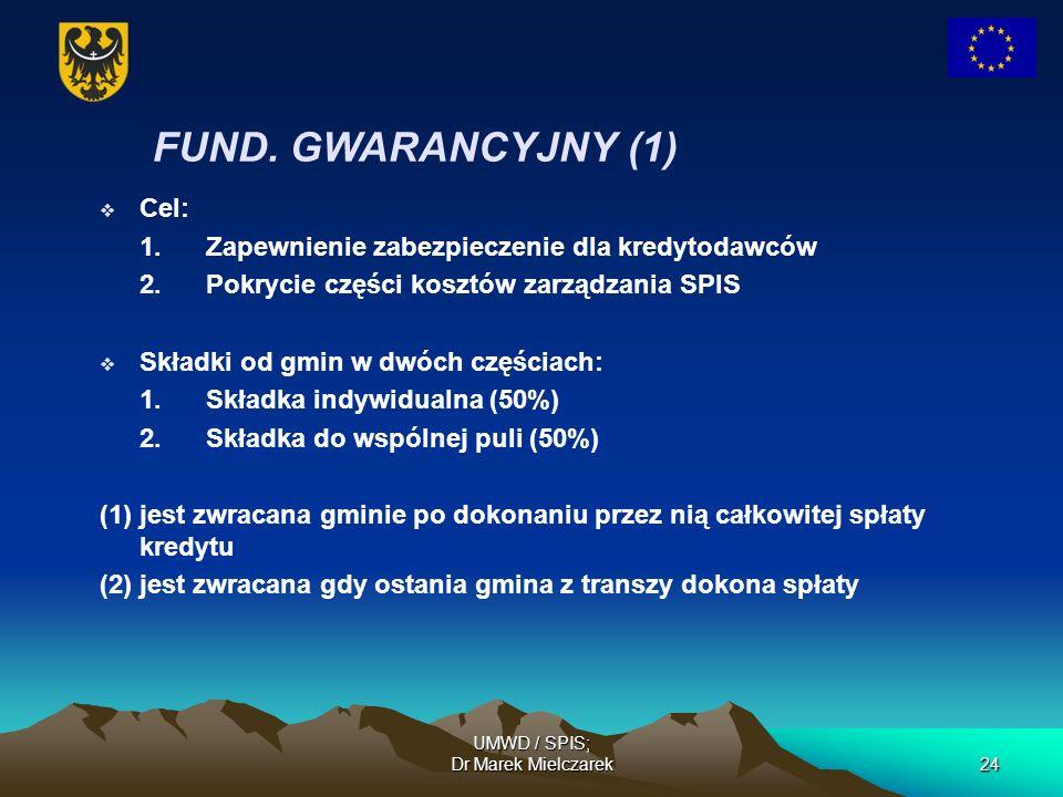 UMWD / SPIS; Dr Marek Mielczarek24 FUND. GWARANCYJNY (1) Cel: 1.Zapewnienie zabezpieczenie dla kredytodawców 2.Pokrycie części kosztów zarządzania SPI
