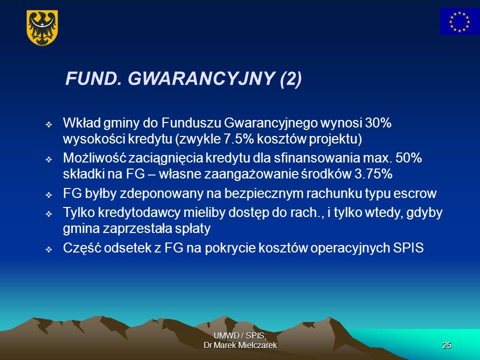 UMWD / SPIS; Dr Marek Mielczarek25 FUND. GWARANCYJNY (2) Wkład gminy do Funduszu Gwarancyjnego wynosi 30% wysokości kredytu (zwykle 7.5% kosztów proje