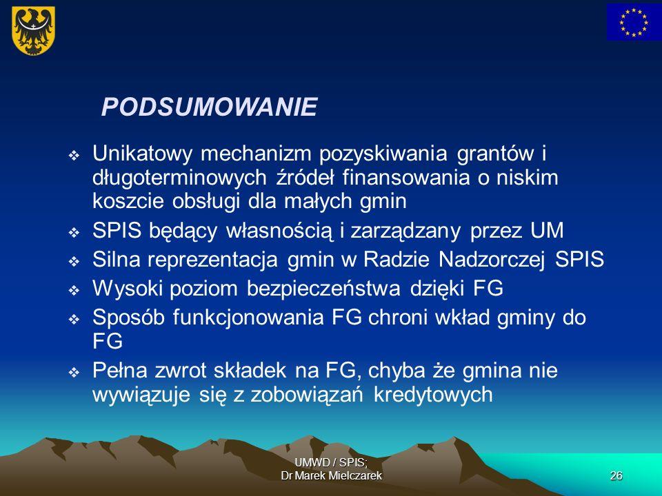 UMWD / SPIS; Dr Marek Mielczarek26 PODSUMOWANIE Unikatowy mechanizm pozyskiwania grantów i długoterminowych źródeł finansowania o niskim koszcie obsłu