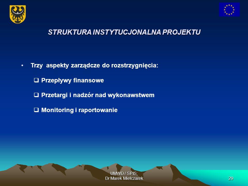 UMWD / SPIS; Dr Marek Mielczarek29 STRUKTURA INSTYTUCJONALNA PROJEKTU Trzy aspekty zarządcze do rozstrzygnięcia: Przepływy finansowe Przetargi i nadzó