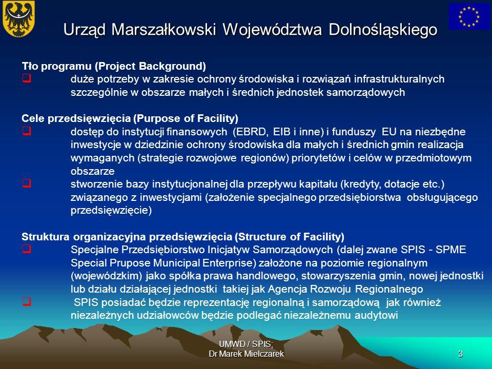 UMWD / SPIS; Dr Marek Mielczarek3 Tło programu (Project Background) duże potrzeby w zakresie ochrony środowiska i rozwiązań infrastrukturalnych szczeg