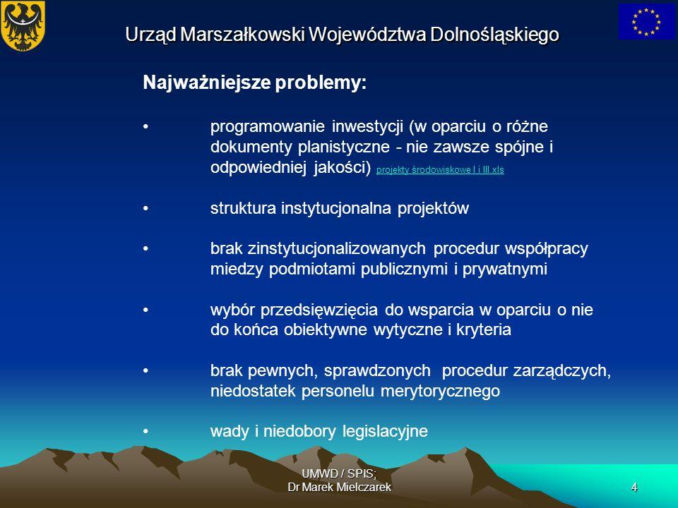 UMWD / SPIS; Dr Marek Mielczarek4 Urząd Marszałkowski Województwa Dolnośląskiego Najważniejsze problemy: programowanie inwestycji (w oparciu o różne d