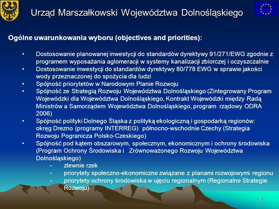 5 Urząd Marszałkowski Województwa Dolnośląskiego Ogólne uwarunkowania wyboru (objectives and priorities): Dostosowanie planowanej inwestycji do standa