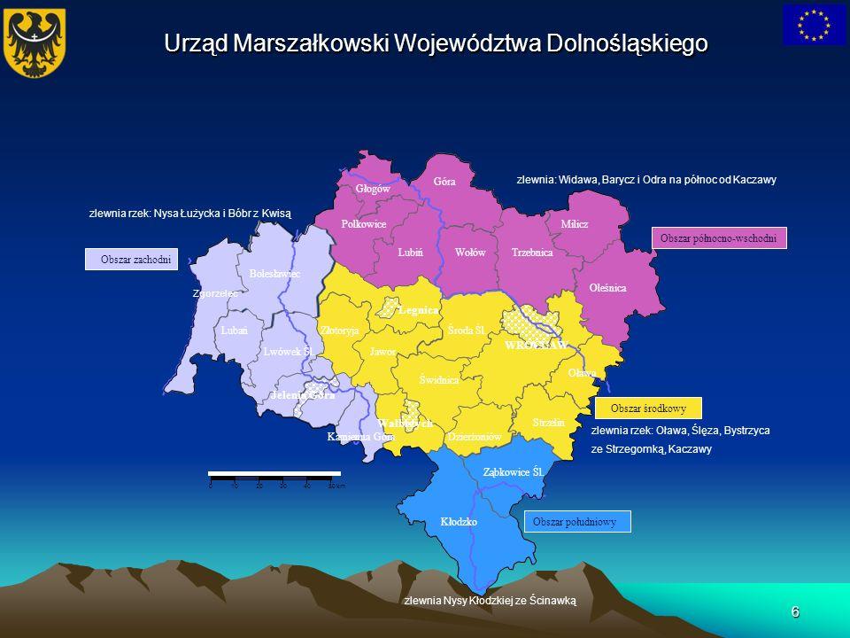 6 01020304050 km Zgorzelec Bolesławiec Lubań Lwówek Śl. Kamienna Góra Jelenia Góra Polkowice Lubiń Głogów Góra WołówTrzebnica Milicz Oleśnica Oława Kł