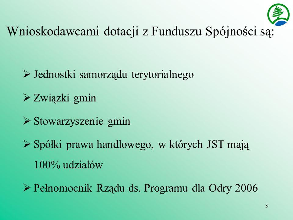 3 Wnioskodawcami dotacji z Funduszu Spójności są: Jednostki samorządu terytorialnego Związki gmin Stowarzyszenie gmin Spółki prawa handlowego, w których JST mają 100% udziałów Pełnomocnik Rządu ds.