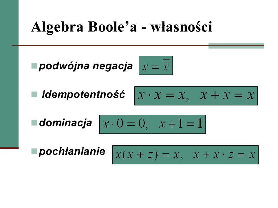 Algebra Boolea - własności podwójna negacja idempotentność dominacja pochłanianie