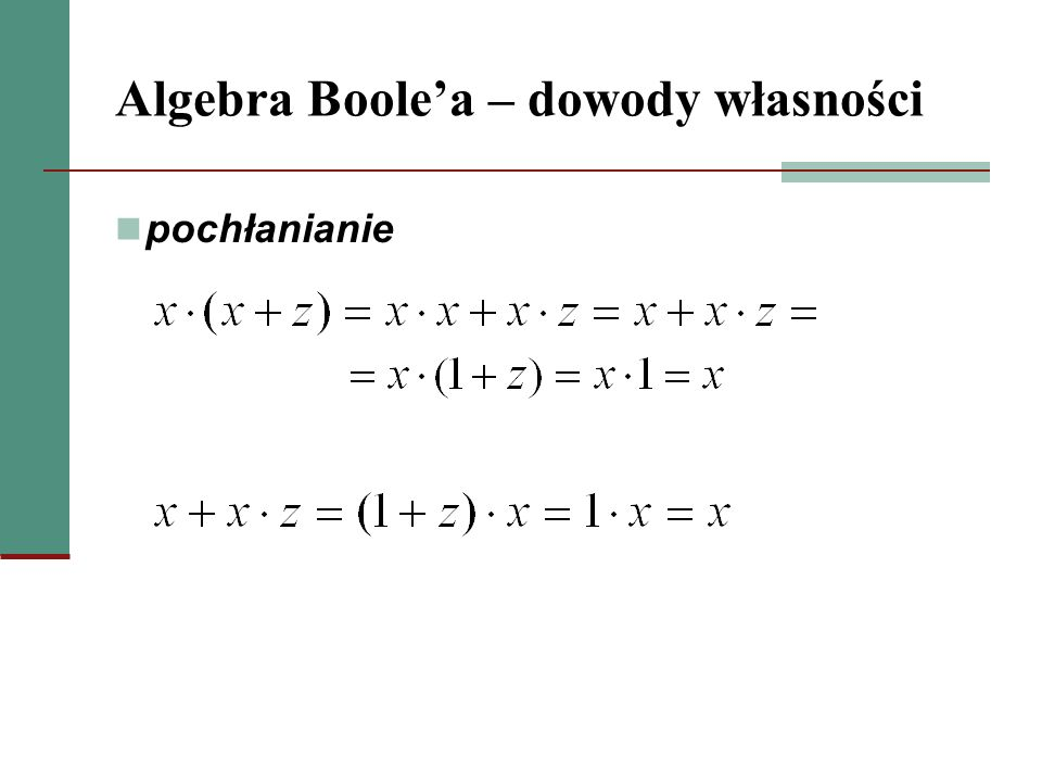 Algebra Boolea – dowody własności minimalizacja