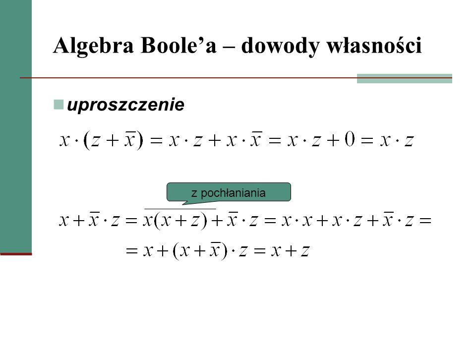 Algebra Boolea – dowody własności uproszczenie z pochłaniania