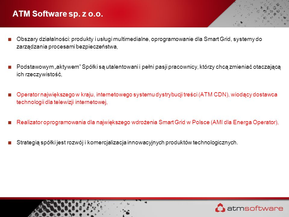 Obszary działalności: produkty i usługi multimedialne, oprogramowanie dla Smart Grid, systemy do zarządzania procesami bezpieczeństwa, Podstawowym akt