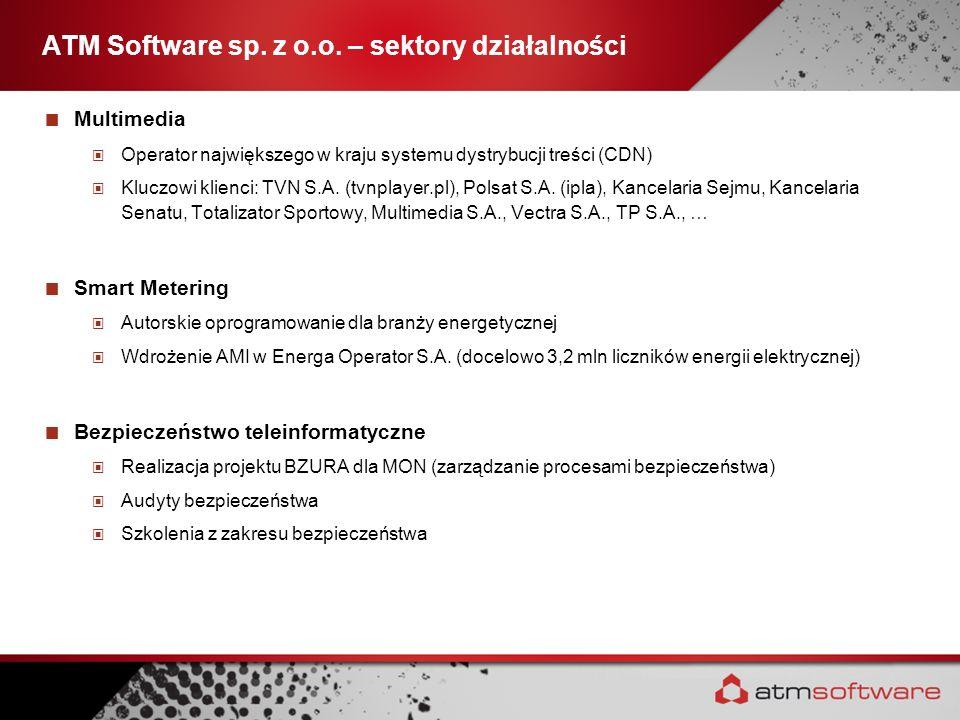ATM Software sp. z o.o. – sektory działalności Multimedia Operator największego w kraju systemu dystrybucji treści (CDN) Kluczowi klienci: TVN S.A. (t