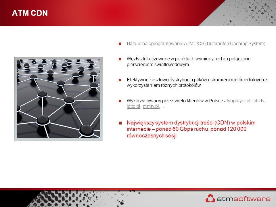 ATM CDN Bazuje na oprogramowaniu ATM DCS (Distributed Caching System) Węzły zlokalizowane w punktach wymiany ruchu i połączone pierścieniem światłowod