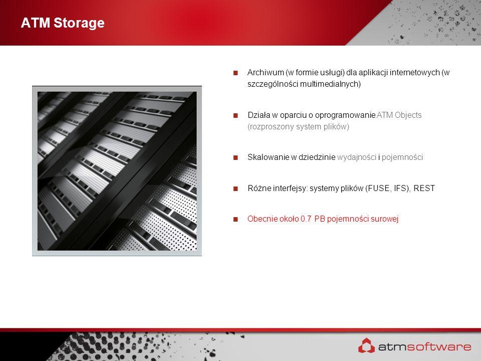 ATM Storage Archiwum (w formie usługi) dla aplikacji internetowych (w szczególności multimedialnych) Działa w oparciu o oprogramowanie ATM Objects (ro