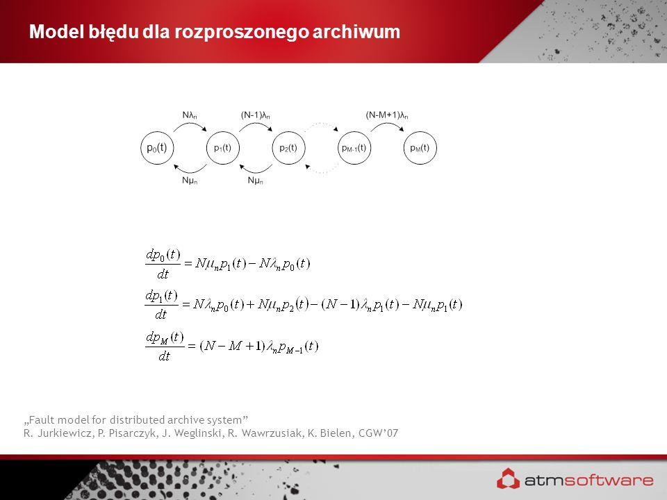 Model błędu dla rozproszonego archiwum Fault model for distributed archive system R. Jurkiewicz, P. Pisarczyk, J. Weglinski, R. Wawrzusiak, K. Bielen,