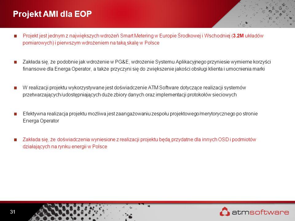 Projekt AMI dla EOP Projekt jest jednym z największych wdrożeń Smart Metering w Europie Środkowej i Wschodniej (3.2M układów pomiarowych) i pierwszym
