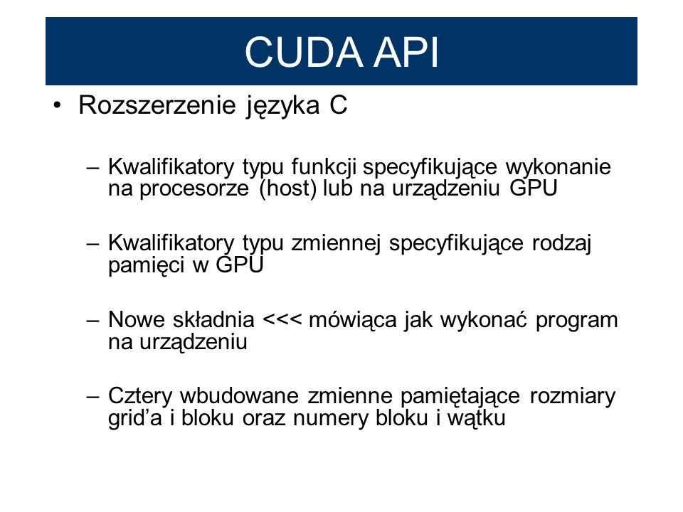 CUDA API Rozszerzenie języka C –Kwalifikatory typu funkcji specyfikujące wykonanie na procesorze (host) lub na urządzeniu GPU –Kwalifikatory typu zmie