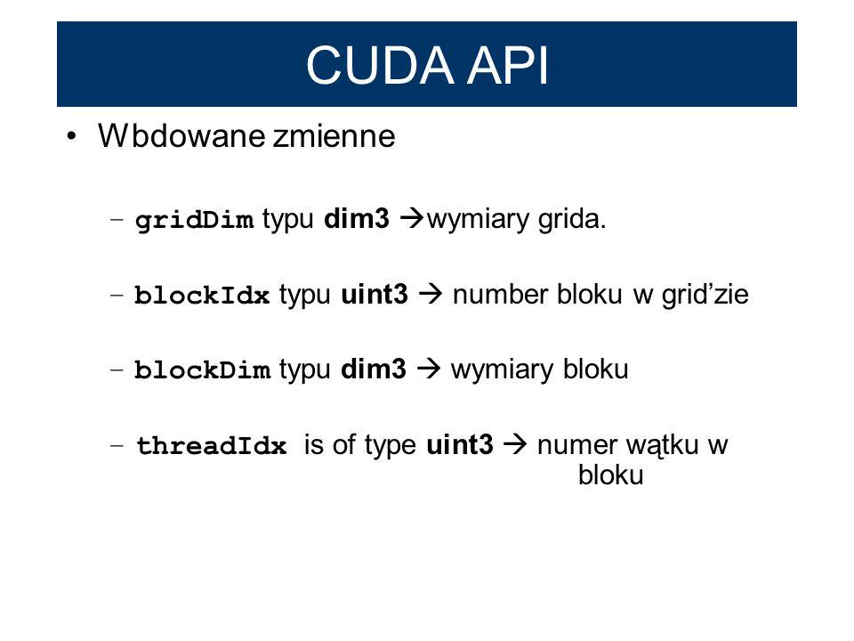 CUDA API Wbdowane zmienne –gridDim typu dim3 wymiary grida. –blockIdx typu uint3 number bloku w gridzie –blockDim typu dim3 wymiary bloku –threadIdx i