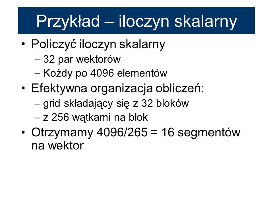 Przykład – iloczyn skalarny Policzyć iloczyn skalarny –32 par wektorów –Kożdy po 4096 elementów Efektywna organizacja obliczeń: –grid składający się z