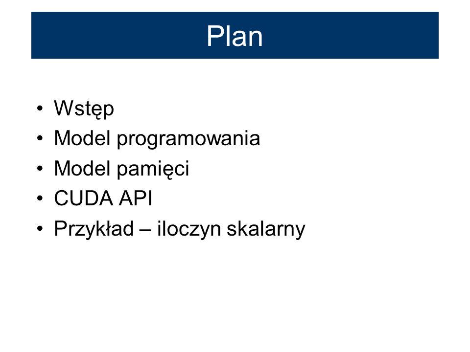 Plan Wstęp Model programowania Model pamięci CUDA API Przykład – iloczyn skalarny