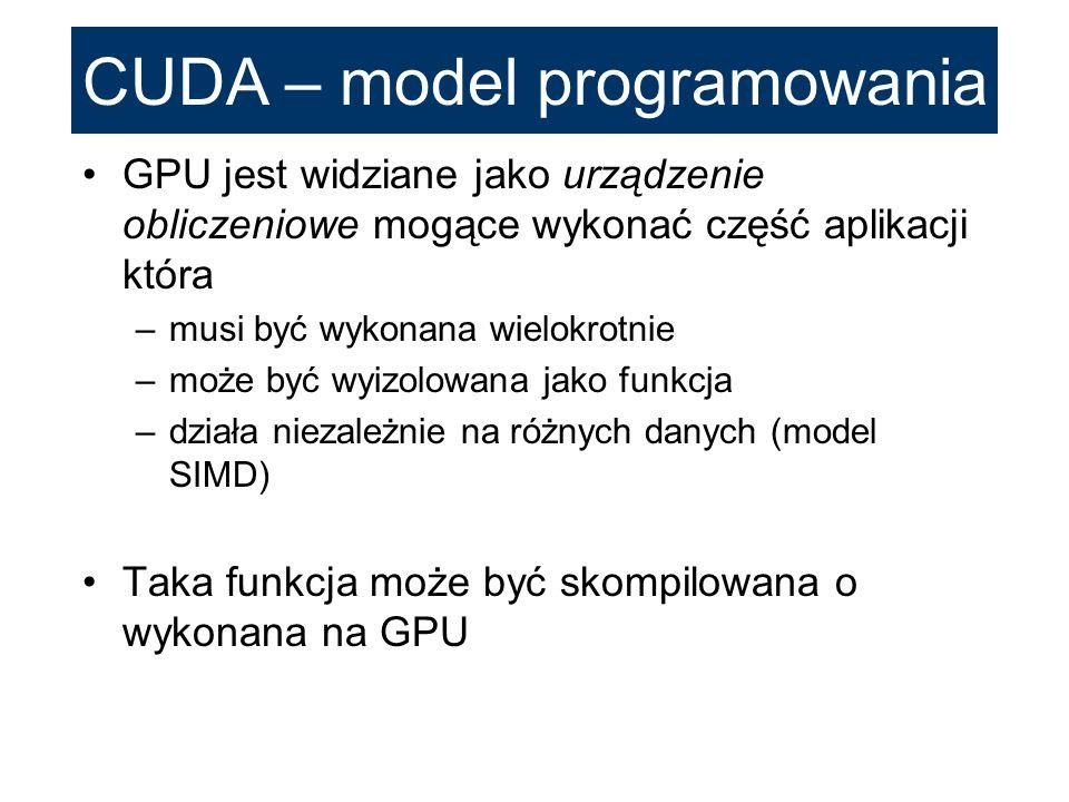 CUDA – model programowania GPU jest widziane jako urządzenie obliczeniowe mogące wykonać część aplikacji która –musi być wykonana wielokrotnie –może b