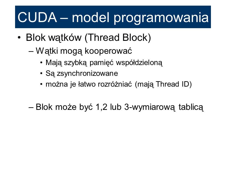 CUDA – model programowania Blok wątków (Thread Block) –Wątki mogą kooperować Mają szybką pamięć współdzieloną Są zsynchronizowane można je łatwo rozró