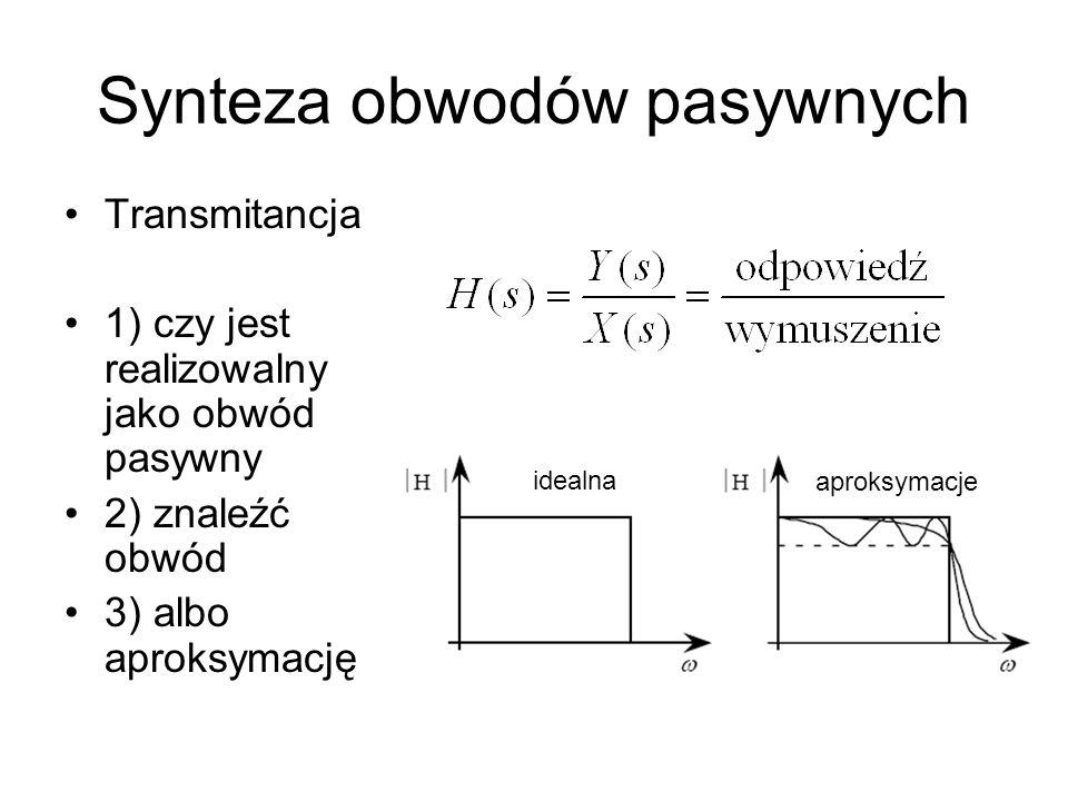 Synteza obwodów pasywnych Transmitancja 1) czy jest realizowalny jako obwód pasywny 2) znaleźć obwód 3) albo aproksymację idealna aproksymacje