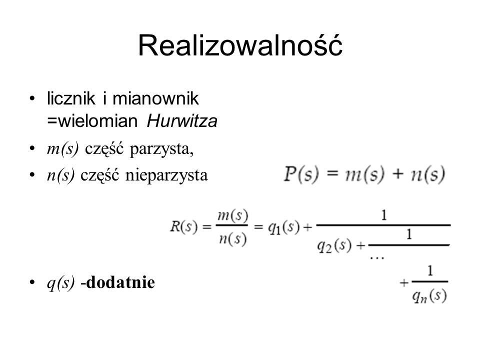 Realizowalność licznik i mianownik =wielomian Hurwitza m(s) część parzysta, n(s) część nieparzysta q(s) -dodatnie