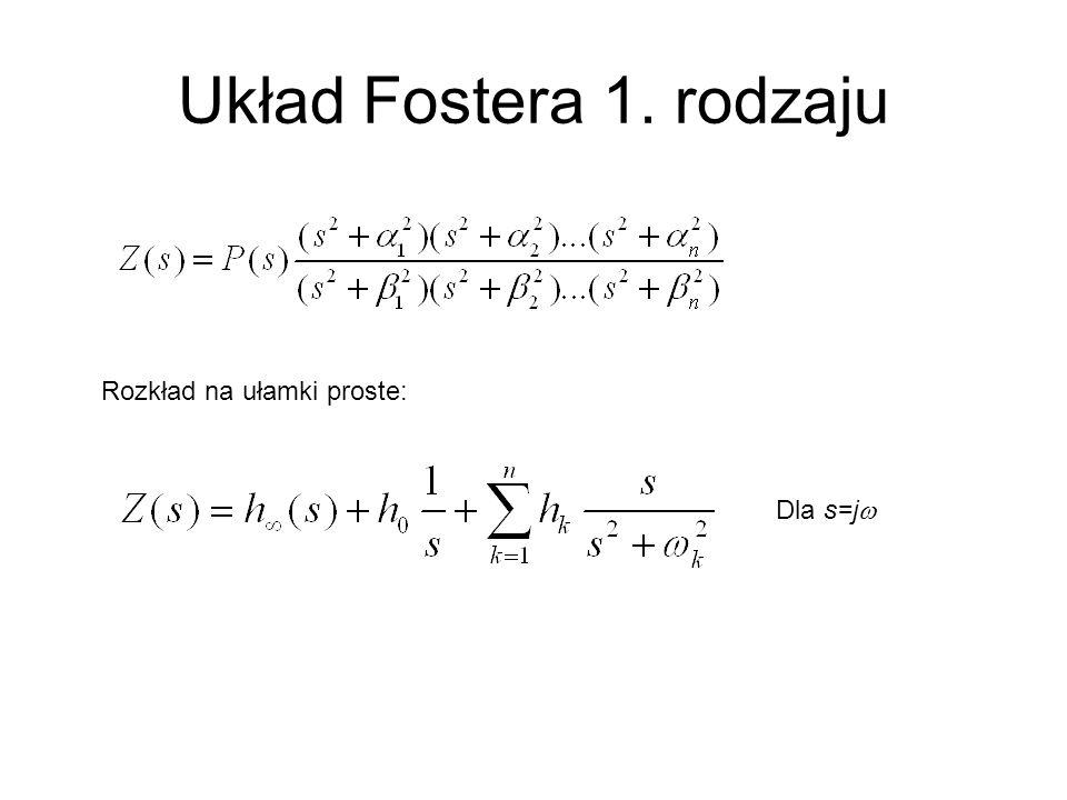 Układ Fostera 1. rodzaju Rozkład na ułamki proste: Dla s=j