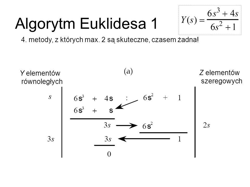 Algorytm Euklidesa 1 4. metody, z których max. 2 są skuteczne, czasem żadna! Y elementów równoległych Z elementów szeregowych