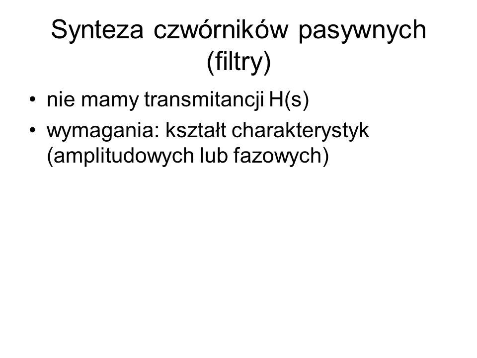 Synteza czwórników pasywnych (filtry) nie mamy transmitancji H(s) wymagania: kształt charakterystyk (amplitudowych lub fazowych)