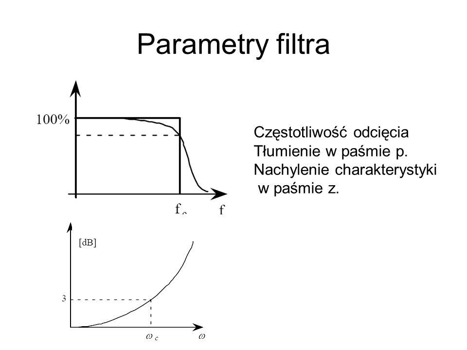 Parametry filtra Częstotliwość odcięcia Tłumienie w paśmie p. Nachylenie charakterystyki w paśmie z.