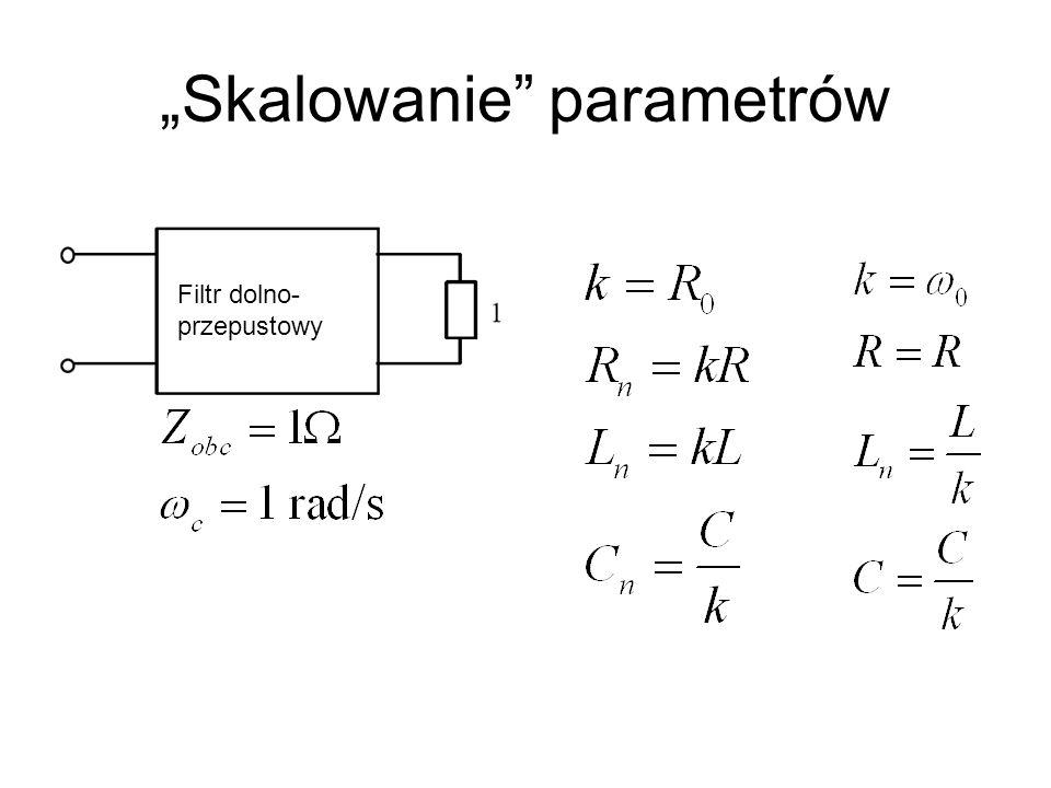 Skalowanie parametrów Filtr dolno- przepustowy