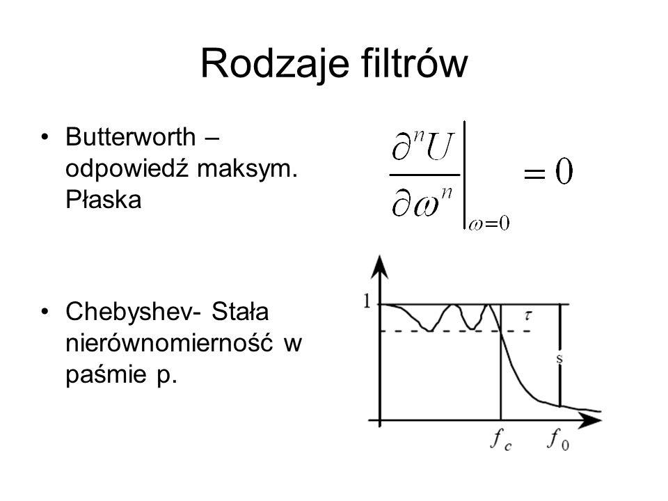 Rodzaje filtrów Butterworth – odpowiedź maksym. Płaska Chebyshev- Stała nierównomierność w paśmie p.