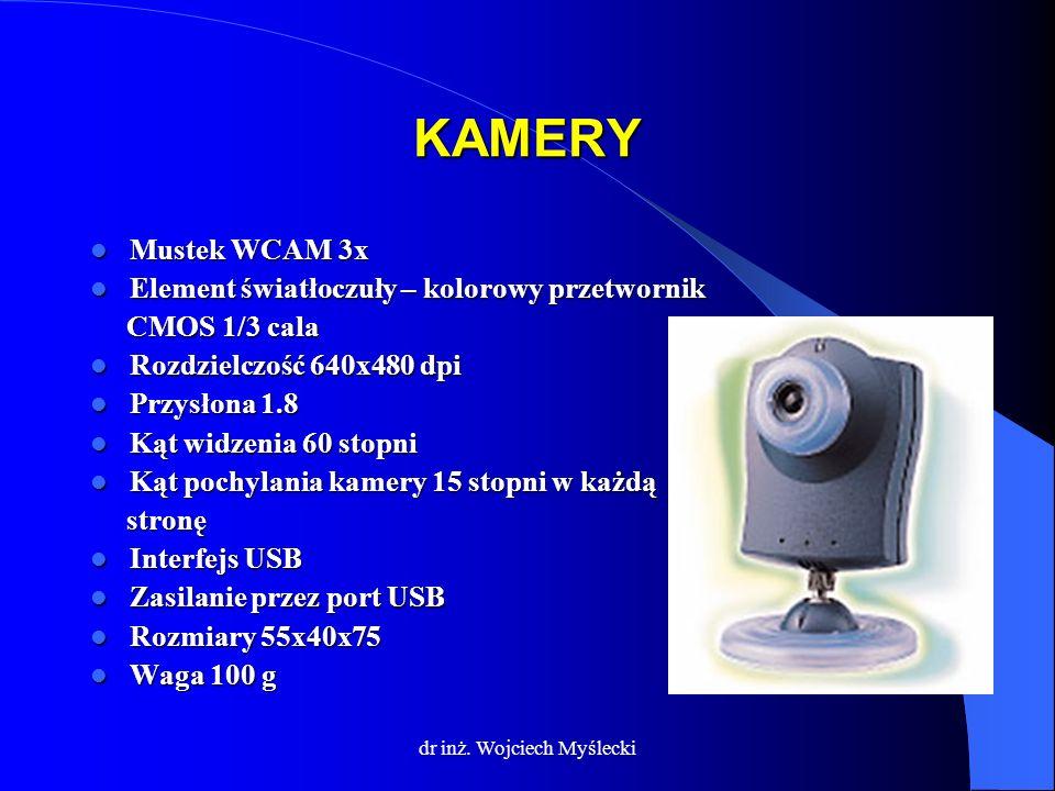 dr inż. Wojciech Myślecki KAMERY Mustek WCAM 3x Mustek WCAM 3x Element światłoczuły – kolorowy przetwornik Element światłoczuły – kolorowy przetwornik