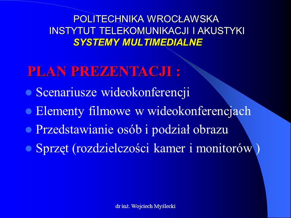 dr inż. Wojciech Myślecki Scenariusze wideokonferencji Elementy filmowe w wideokonferencjach Przedstawianie osób i podział obrazu Sprzęt (rozdzielczoś