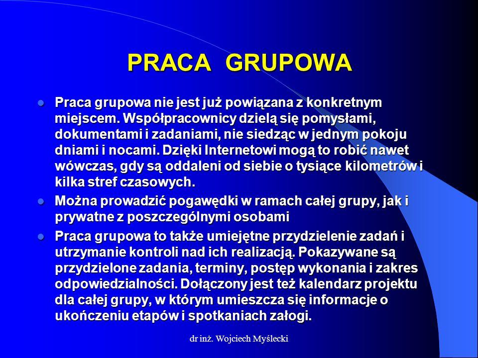 dr inż. Wojciech Myślecki PRACA GRUPOWA Praca grupowa nie jest już powiązana z konkretnym miejscem. Współpracownicy dzielą się pomysłami, dokumentami
