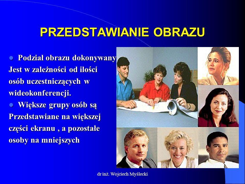 dr inż. Wojciech Myślecki PRZEDSTAWIANIE OBRAZU Podział obrazu dokonywany Podział obrazu dokonywany Jest w zależności od ilości osób uczestniczących w
