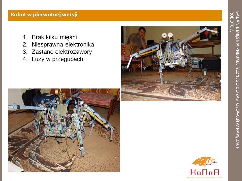 BADANIE MIĘŚNIA PNEUMATYCZNEGO DO ZASTOSOWAŃ W NAPĘDACHROBOTÓW Robot w pierwotnej wersji 1.Brak kilku mięśni 2.Niesprawna elektronika 3.Zastane elektr