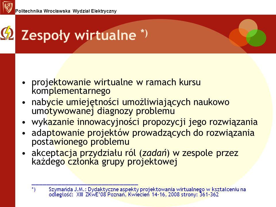 Politechnika Wrocławska Wydział Elektryczny Zespoły wirtualne *) projektowanie wirtualne w ramach kursu komplementarnego nabycie umiejętności umożliwi